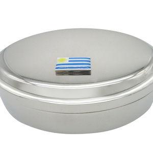 Uruguay Flag Pendant Oval Trinket Jewelry Box